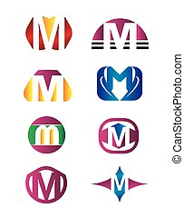 Set of letter m logo