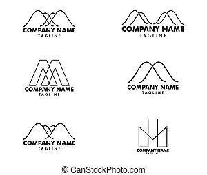Set of Letter M vector line logo design