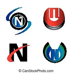 Set of Letter N logo