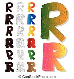 Set of letter R, filled with floral elements.