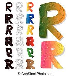Set of letter R, filled with floral elements.