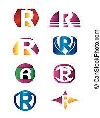Set of letter R logo