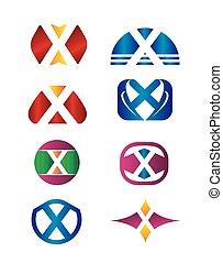 Set of letter X logo