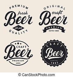 Set of lettering beer logo. Logotype, label and badge design.