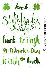 Set of lettering for St. Patricks day.