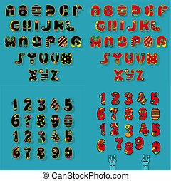 Black and Red Disco Alphabets - Set of Letters and Numbers....