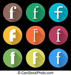 Set of Letters F. Flat style icons for web