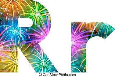 Set of letters, firework, R