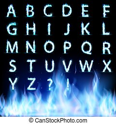 Set of letters. Font burning with a blue flame.