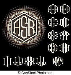 set of letters for decoration stylish retro monogram