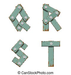Set of letters from boards with nails.