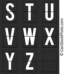 Set of  letters from mechanical timetable board