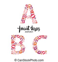 Set of letters made from print kisses