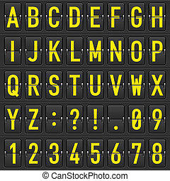 Set of letters on a mechanical timetable - Set of yellow...