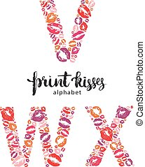 Set of letters V, W, and X made from print kisses