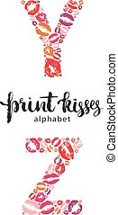 Set of letters Y and Z made from print kisses