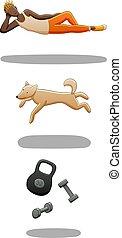 Set of levitating guy, dog and dumbbells