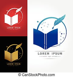 set of Library book logo, Vector illustration