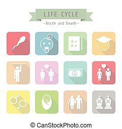 life cycle - set of life cycle icon, pastel, flat style