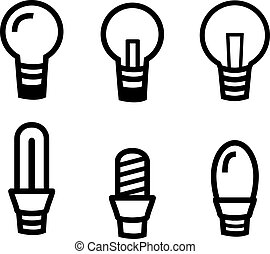 Set of Light bulb icon on white background