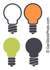Set of light bulb icons isolated on white background. Eco bulb