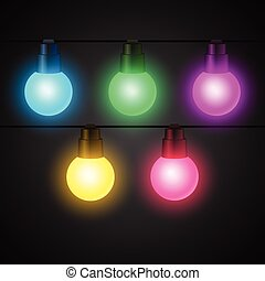 Set of light bulbs garlands for design