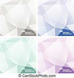 Set of Light Colorful Abstract Geometric Backgrounds