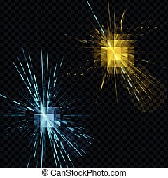 Set of light effects blue and yellow - vector on a transparent background