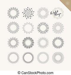Set of light rays vintage design elements