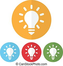 Set of lightbulb icon on a colorful circles. Vector illustration