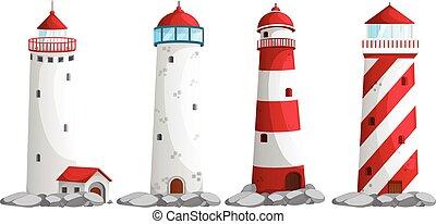 Set of lighthouse on white background