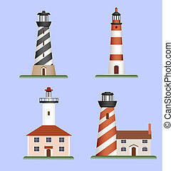 set of lighthouses - vector set of lighthouses tower on...