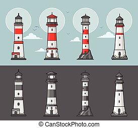 Set of lighthouses illustration
