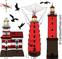 Set of lighthouses