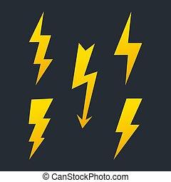Set of lightning bolt. High voltage icon