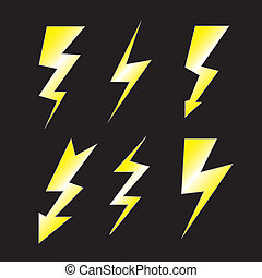 Set of lightning on black - Set of lightning - Vector