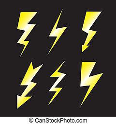 Set of lightning on black - Set of lightning - Vector
