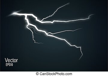 Set of lightnings. Thunder-storm and lightnings. Magic and bright lighting effects.