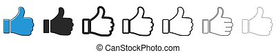 Set of Like icons. Up thumbs icon. Vector