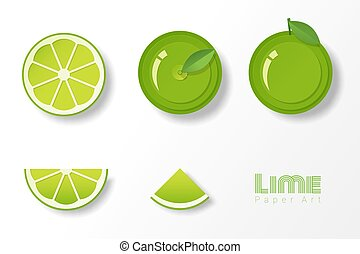 Set of limes in paper art style