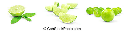 Set of limes isolated on a white background with clipping path