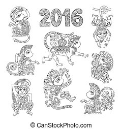 set of line art authentic decorative monkey - chinese zodiac symbol 2016 year, black and white vector illustration