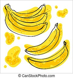 Set of line-art bananas with yellow spots on a white background