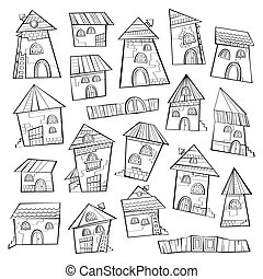 Set of line art cartoon vector houses