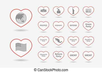 Set of line art hearts with  politics, democracy, diplomacy and international relations related icons