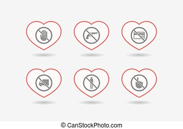 Set of line art hearts with prohibition related icons