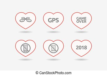 Set of line art hearts with technology related icons