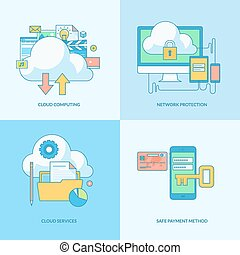Set of line concept icons with flat design elements. Icons...