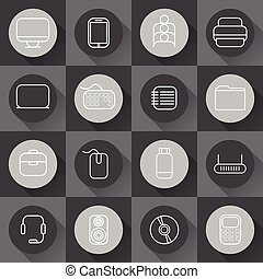 Set of line craft icons for business with computer theme in flat design. Vector