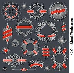 Set of line design emblems